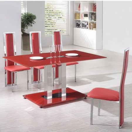 Glass dining table ice red with 4 d231 chairs set for Red dining room table and chairs
